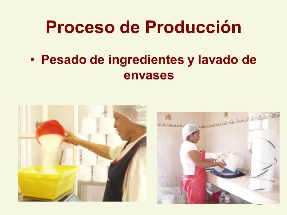 Pesado de ingredientes y lavado de envases