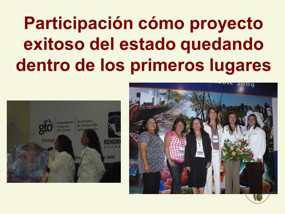Participación cómo proyecto exitoso del estado quedando dentro de los primeros lugares