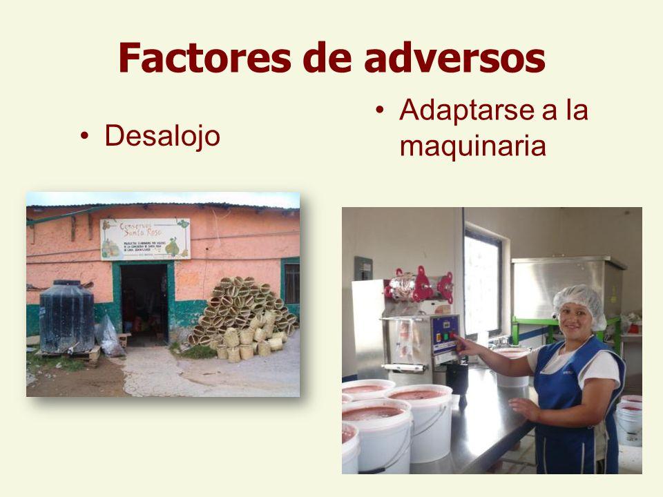 Factores de adversos Adaptarse a la maquinaria Desalojo
