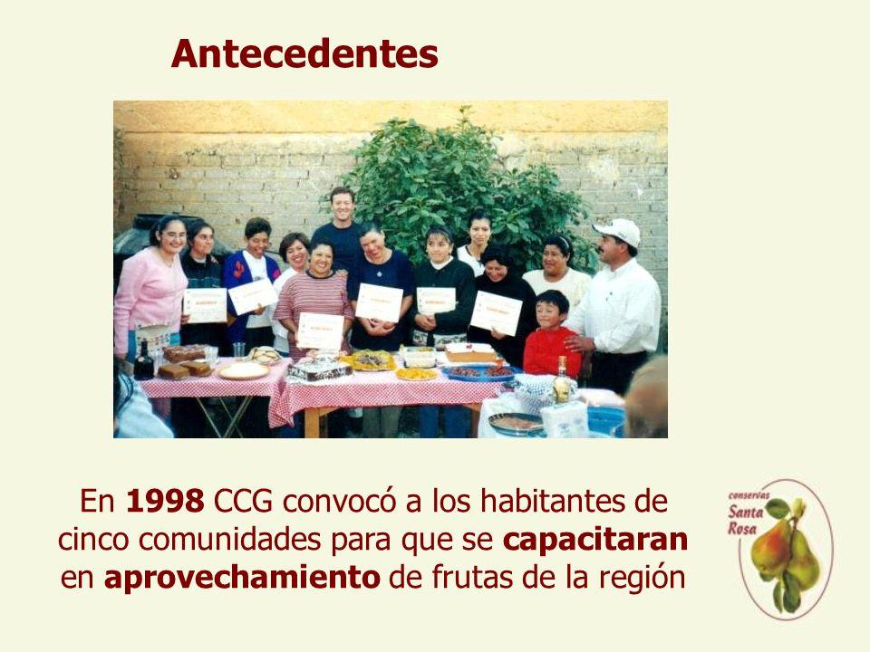 Antecedentes En 1998 CCG convocó a los habitantes de cinco comunidades para que se capacitaran en aprovechamiento de frutas de la región.