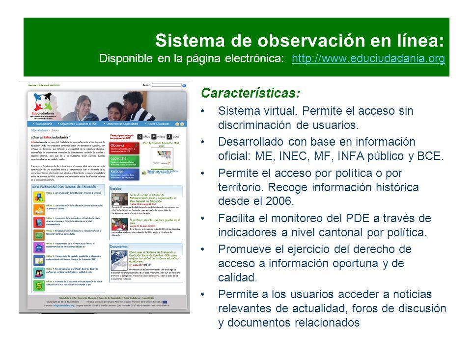Sistema de observación en línea: Disponible en la página electrónica: http://www.educiudadania.org