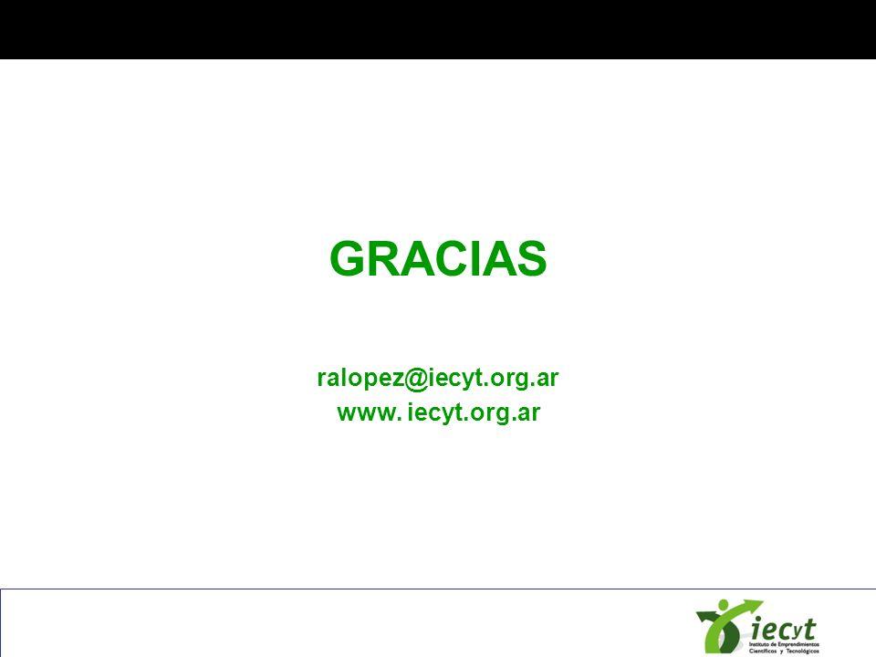 GRACIAS ralopez@iecyt.org.ar www. iecyt.org.ar