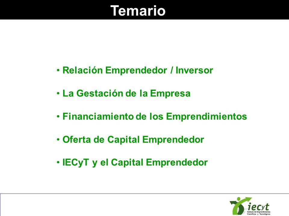 Temario Relación Emprendedor / Inversor La Gestación de la Empresa