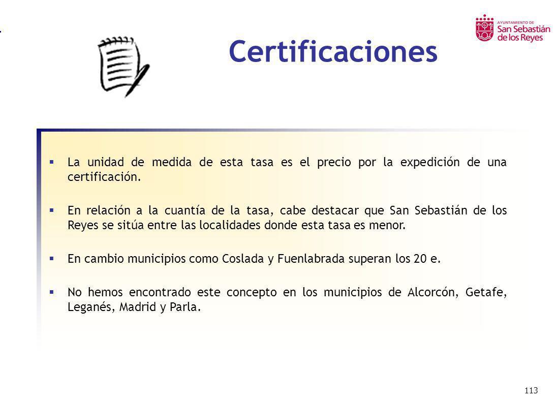 Certificaciones La unidad de medida de esta tasa es el precio por la expedición de una certificación.