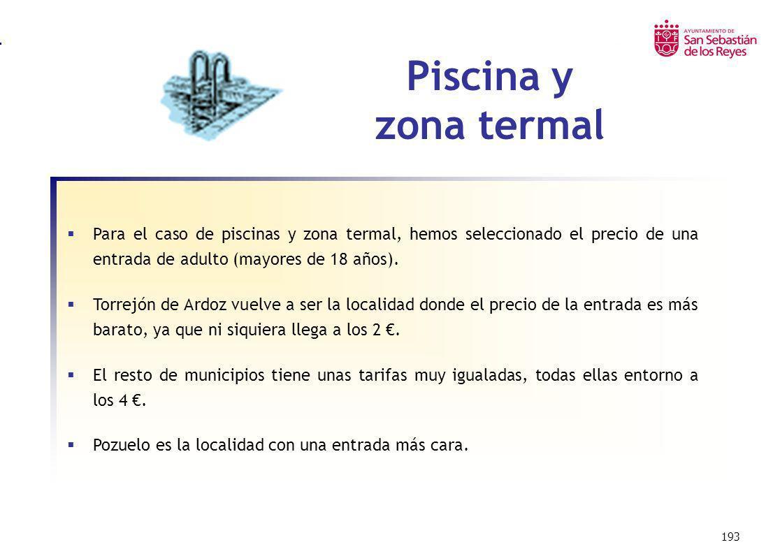 Piscina y zona termal Para el caso de piscinas y zona termal, hemos seleccionado el precio de una entrada de adulto (mayores de 18 años).