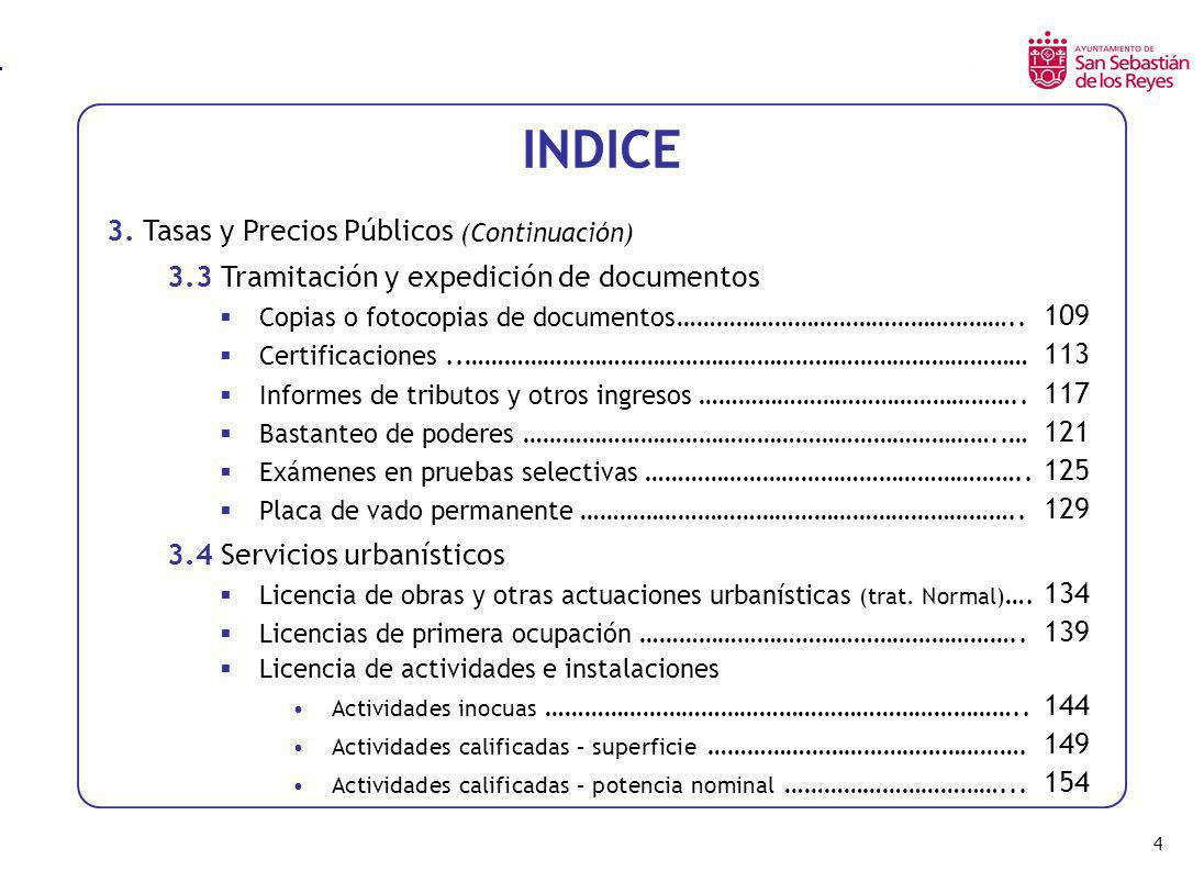 INDICE 3. Tasas y Precios Públicos (Continuación)