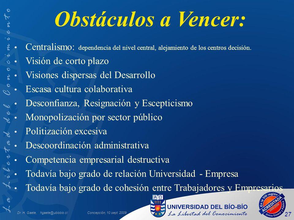 Obstáculos a Vencer: Centralismo: dependencia del nivel central, alejamiento de los centros decisión.