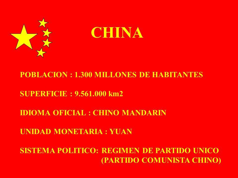 CHINA POBLACION : 1.300 MILLONES DE HABITANTES