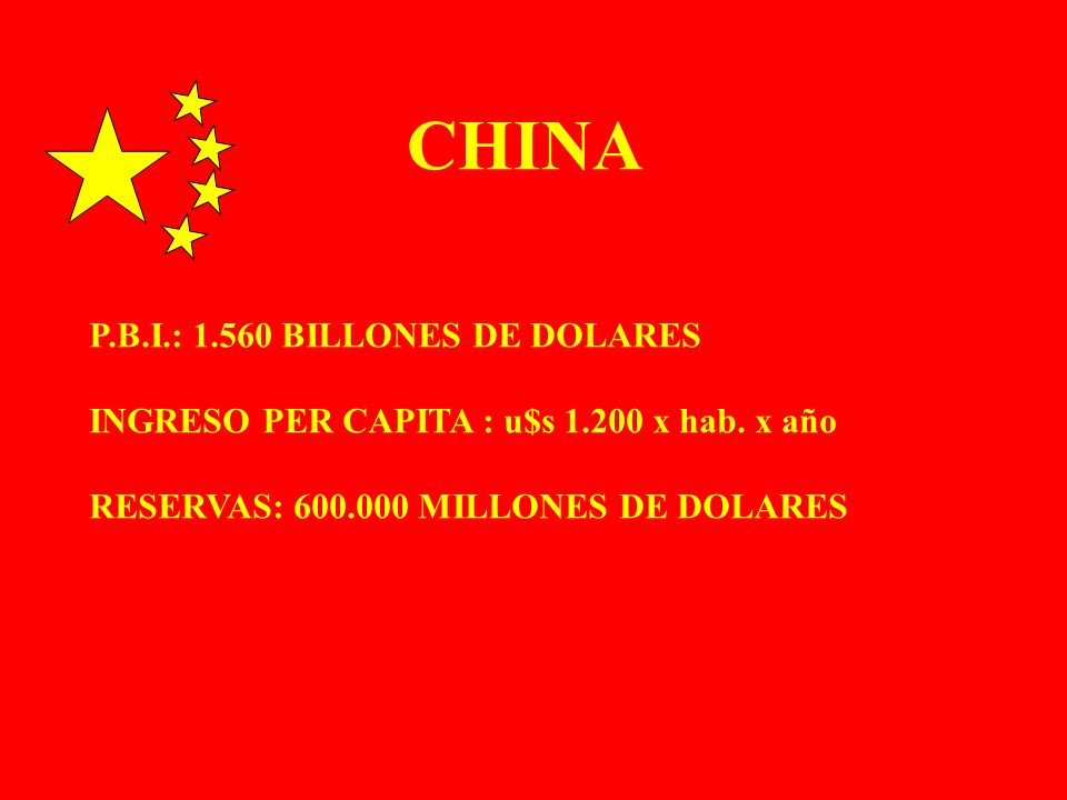 CHINA P.B.I.: 1.560 BILLONES DE DOLARES