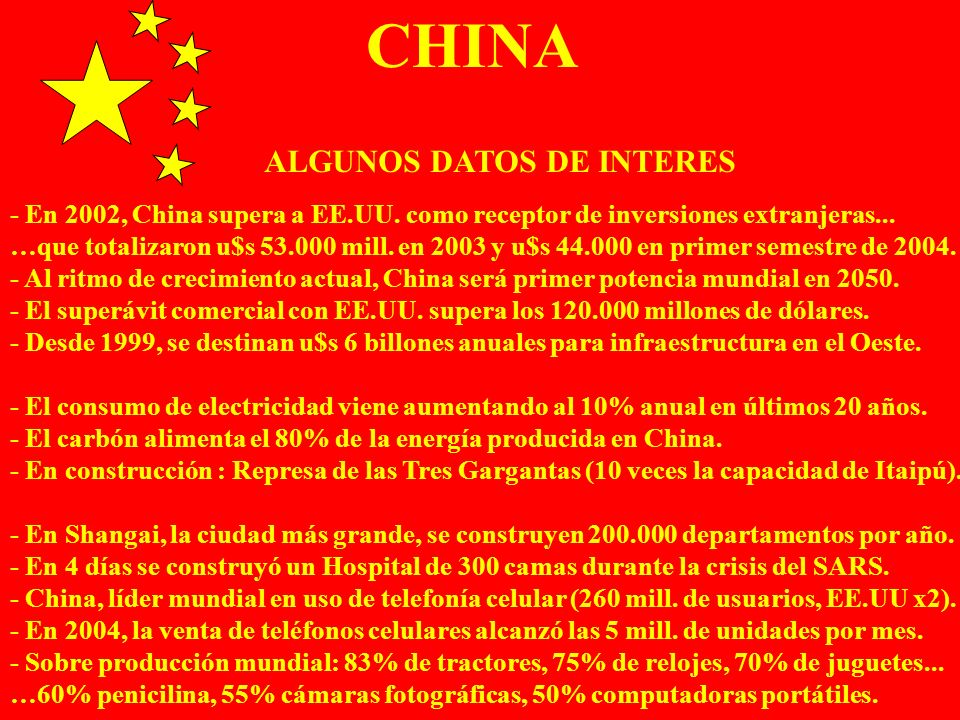 CHINA ALGUNOS DATOS DE INTERES