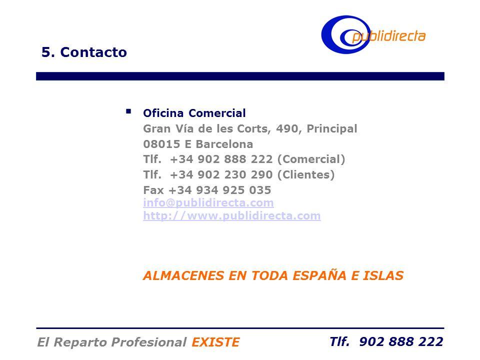 5. Contacto ALMACENES EN TODA ESPAÑA E ISLAS