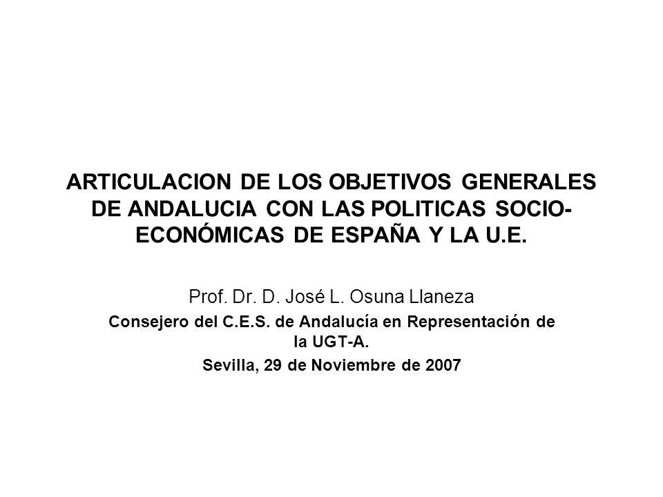 ARTICULACION DE LOS OBJETIVOS GENERALES DE ANDALUCIA CON LAS POLITICAS SOCIO-ECONÓMICAS DE ESPAÑA Y LA U.E.