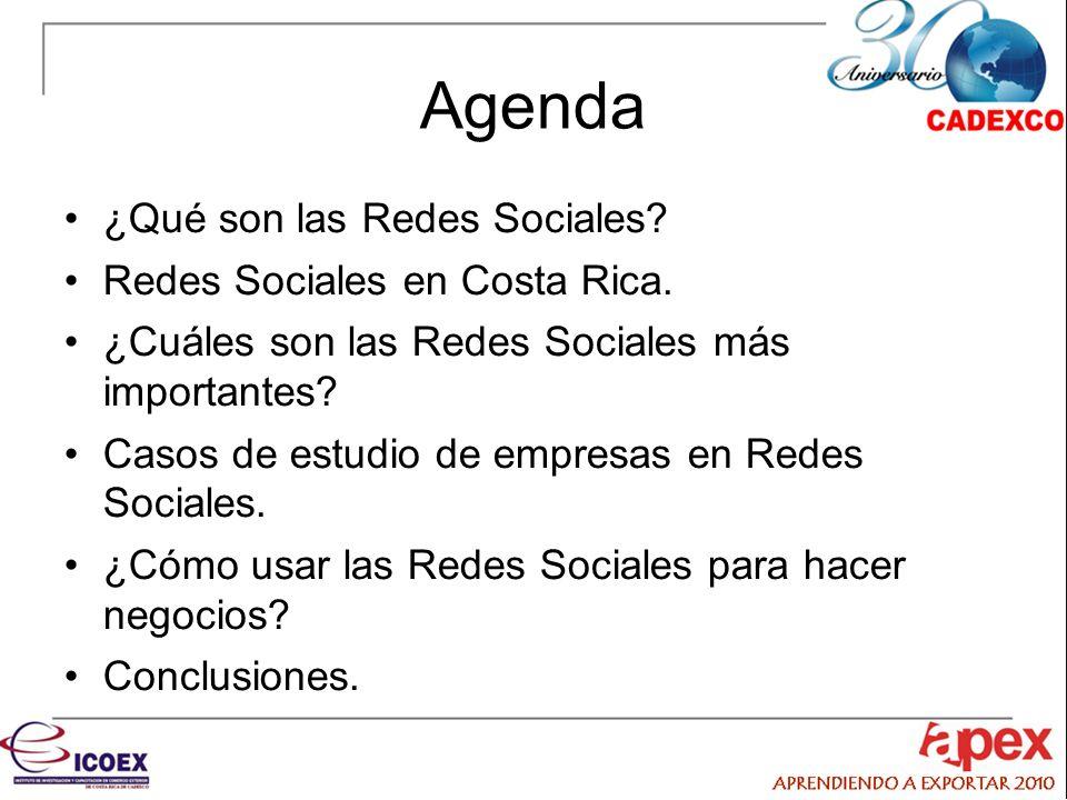 Agenda ¿Qué son las Redes Sociales Redes Sociales en Costa Rica.