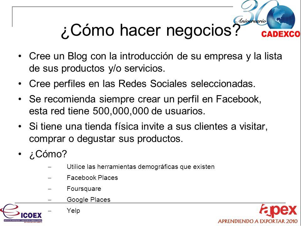 ¿Cómo hacer negocios Cree un Blog con la introducción de su empresa y la lista de sus productos y/o servicios.
