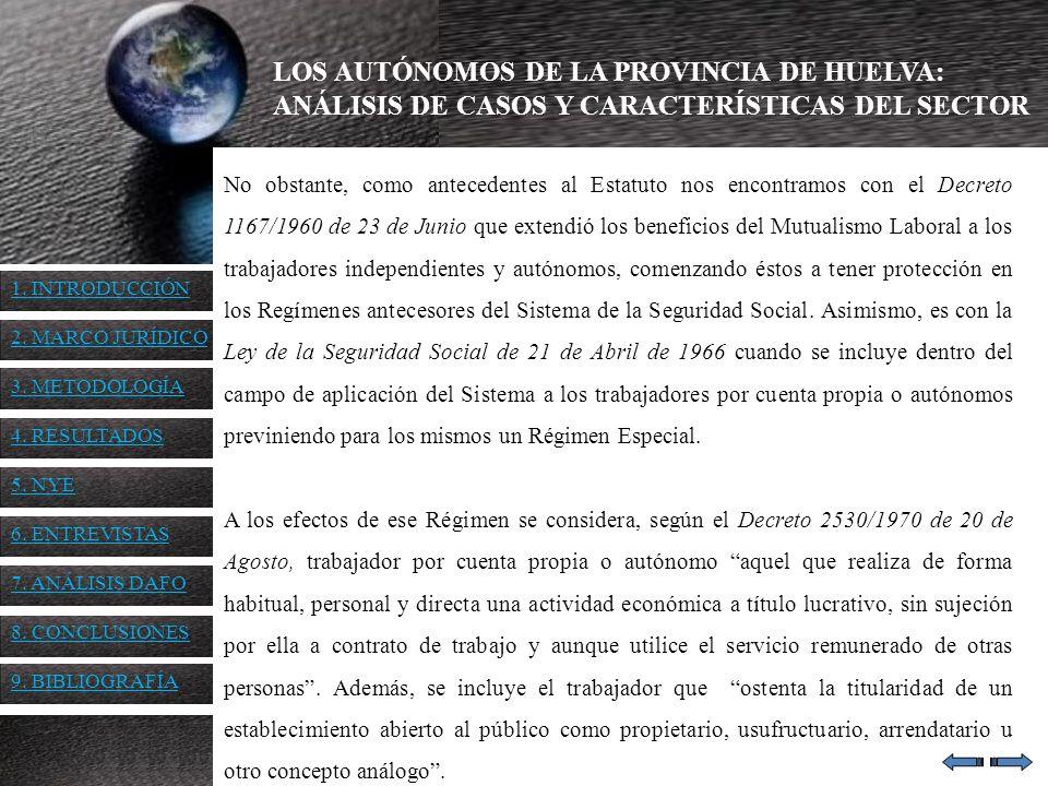 LOS AUTÓNOMOS DE LA PROVINCIA DE HUELVA: