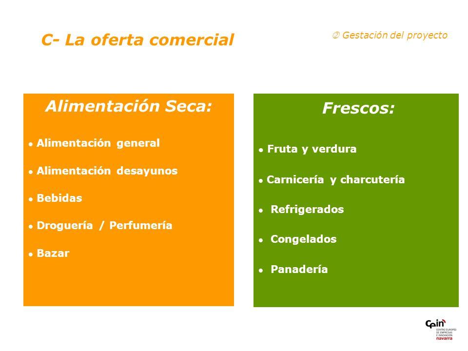 Frescos: C- La oferta comercial Alimentación Seca: Fruta y verdura