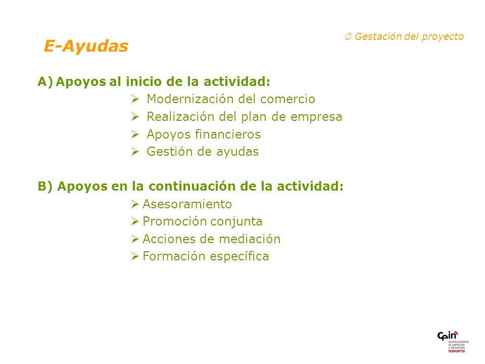 E-Ayudas A) Apoyos al inicio de la actividad: