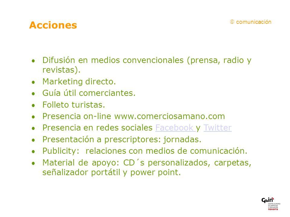 Acciones Difusión en medios convencionales (prensa, radio y revistas).
