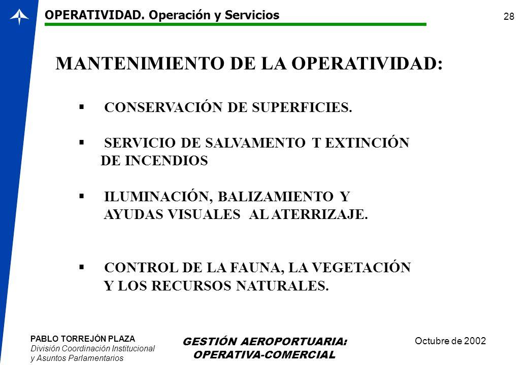 MANTENIMIENTO DE LA OPERATIVIDAD: