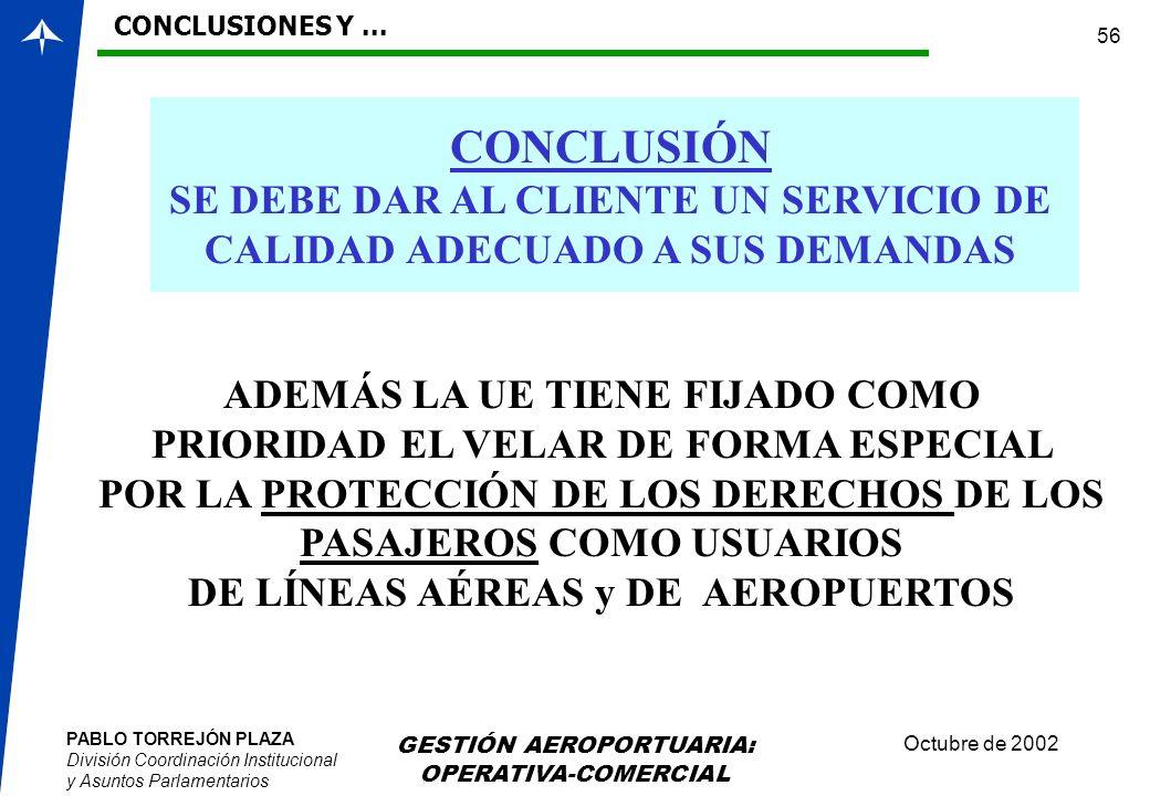 CONCLUSIONES Y ... CONCLUSIÓN. SE DEBE DAR AL CLIENTE UN SERVICIO DE CALIDAD ADECUADO A SUS DEMANDAS.