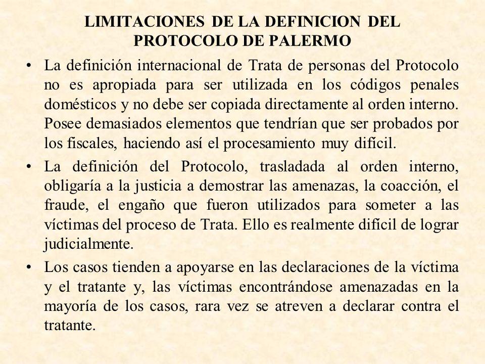 LIMITACIONES DE LA DEFINICION DEL PROTOCOLO DE PALERMO