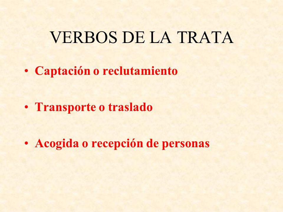 VERBOS DE LA TRATA Captación o reclutamiento Transporte o traslado