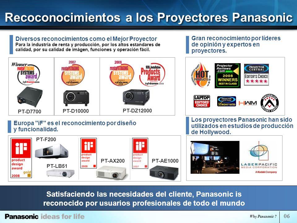 Recoconocimientos a los Proyectores Panasonic