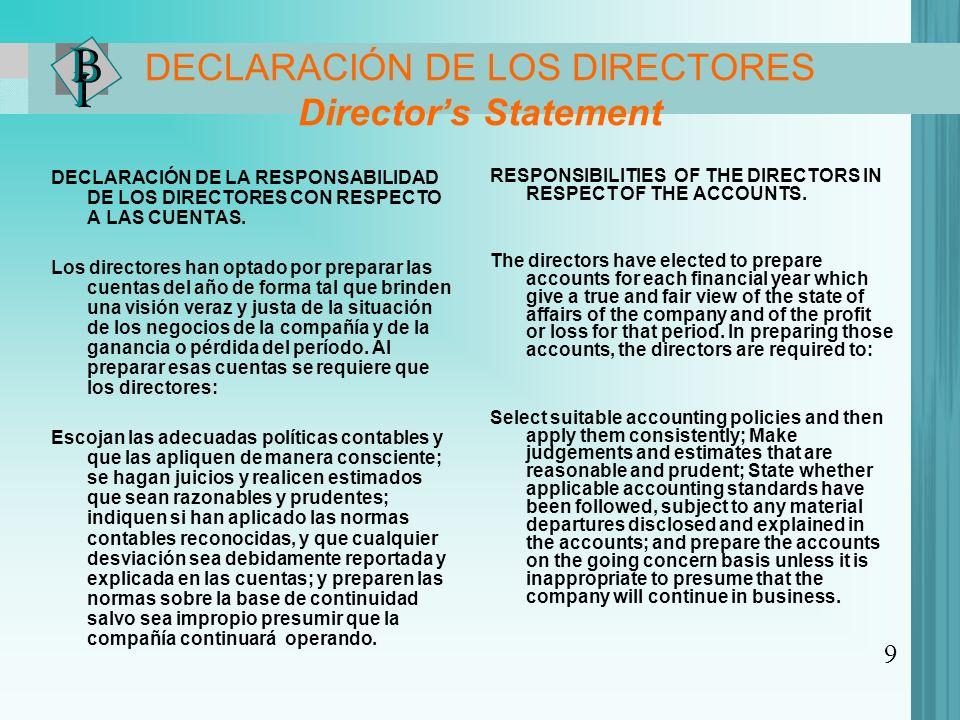 DECLARACIÓN DE LOS DIRECTORES Director's Statement