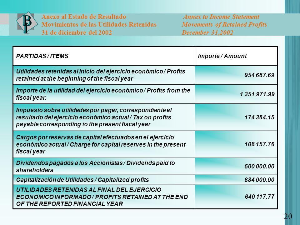 20 Anexo al Estado de Resultado Annex to Income Statement