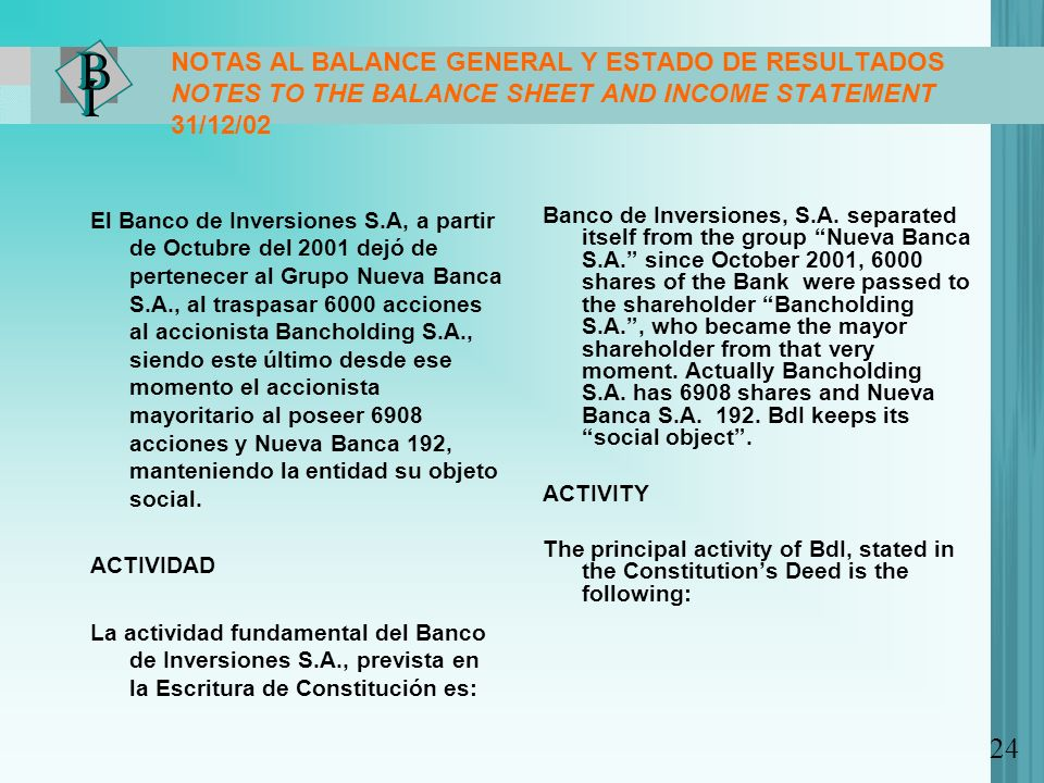 NOTAS AL BALANCE GENERAL Y ESTADO DE RESULTADOS NOTES TO THE BALANCE SHEET AND INCOME STATEMENT 31/12/02