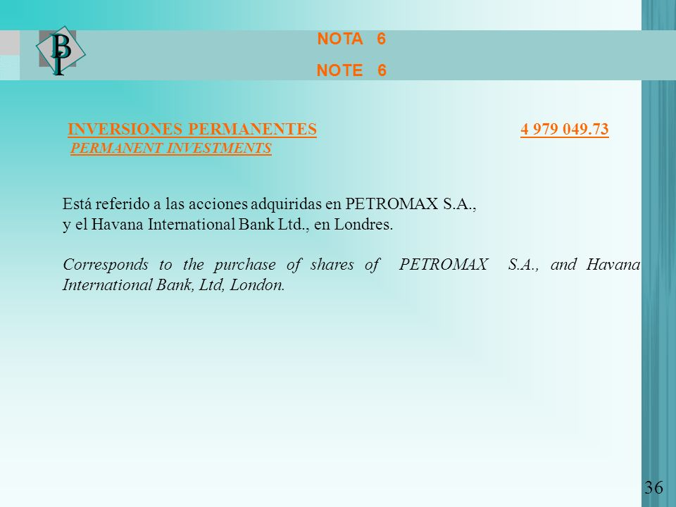 NOTA 6 NOTE 6. INVERSIONES PERMANENTES 4 979 049.73.