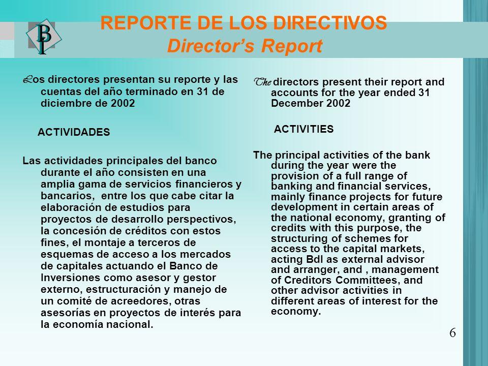 REPORTE DE LOS DIRECTIVOS Director's Report