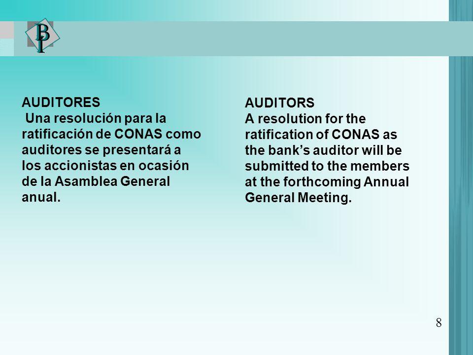 AUDITORES Una resolución para la ratificación de CONAS como auditores se presentará a los accionistas en ocasión de la Asamblea General anual.