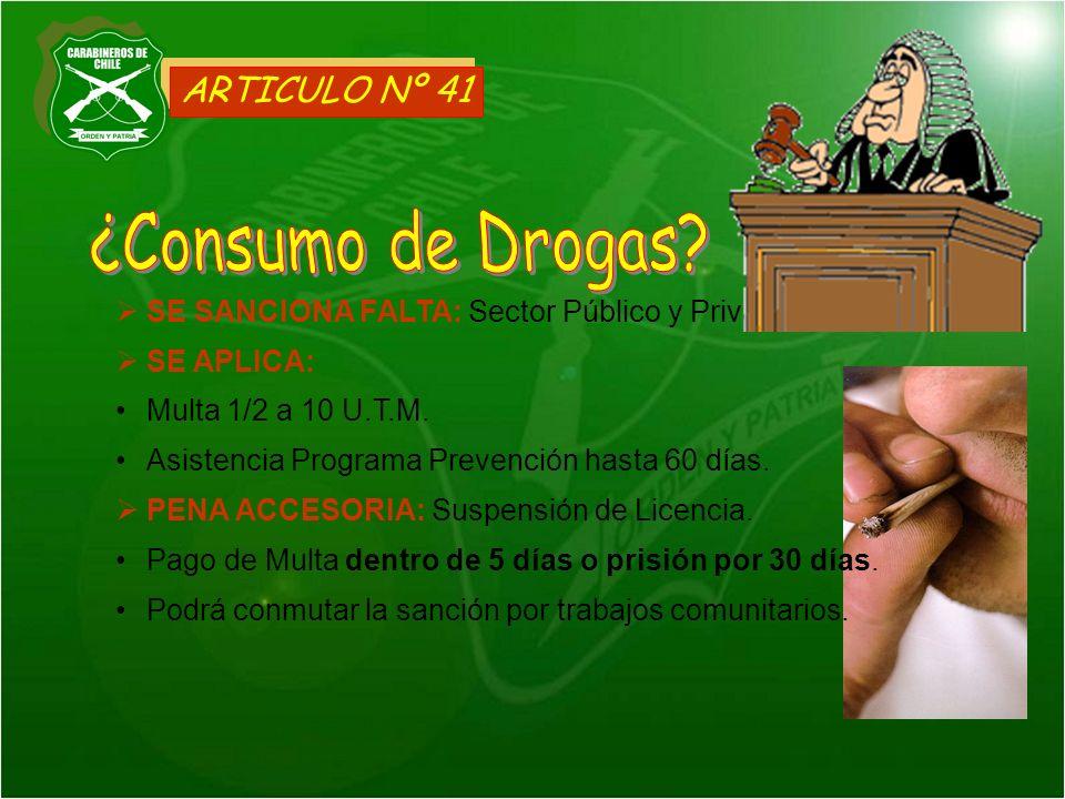 ¿Consumo de Drogas ARTICULO Nº 41