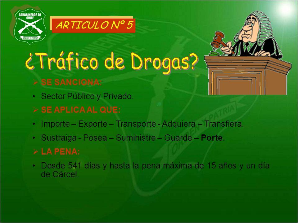 ¿Tráfico de Drogas ARTICULO Nº 5 SE SANCIONA: