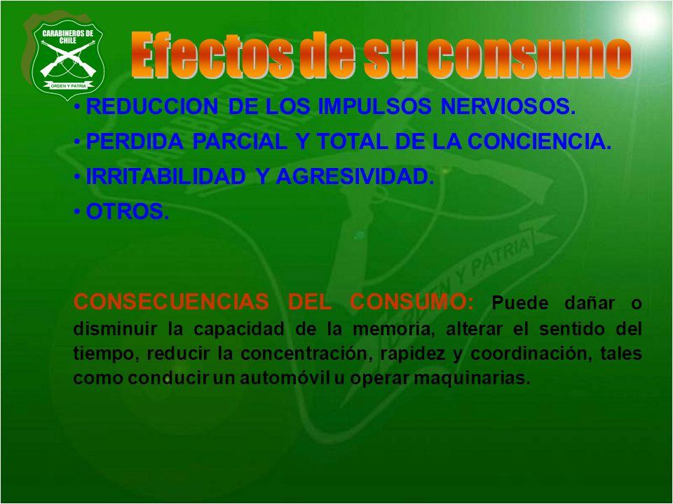 Efectos de su consumo REDUCCION DE LOS IMPULSOS NERVIOSOS.