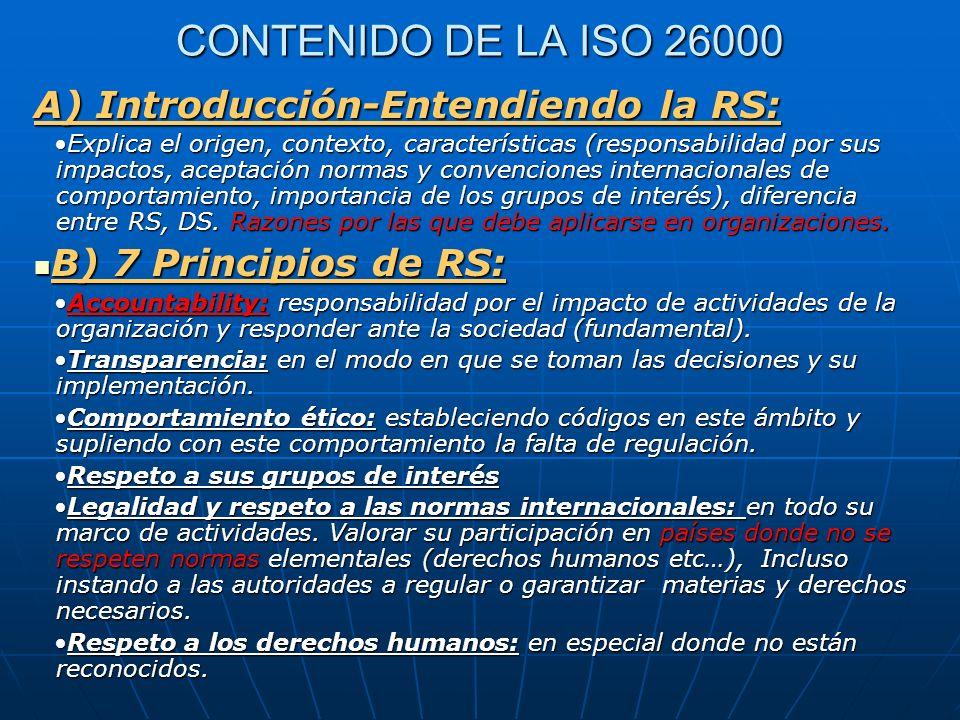 CONTENIDO DE LA ISO 26000 A) Introducción-Entendiendo la RS: