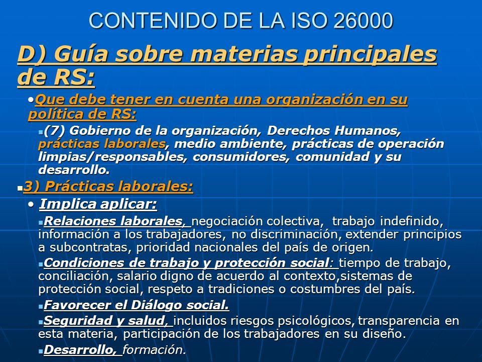 D) Guía sobre materias principales de RS: