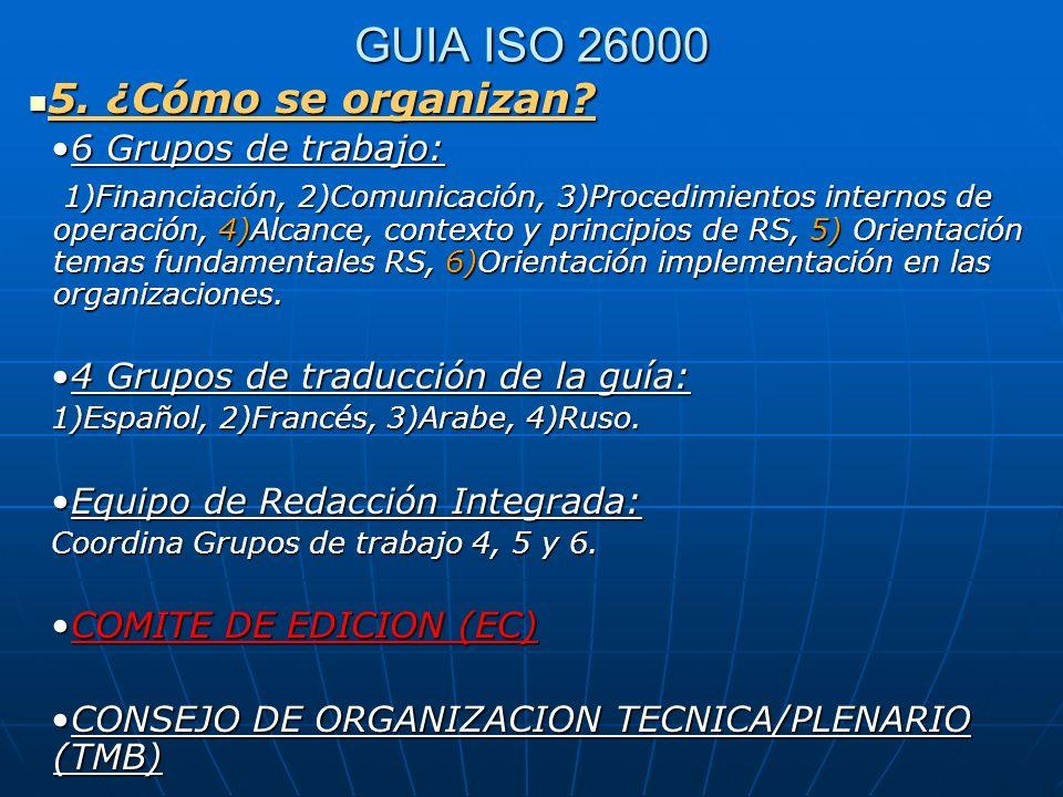 GUIA ISO 26000 5. ¿Cómo se organizan 6 Grupos de trabajo: