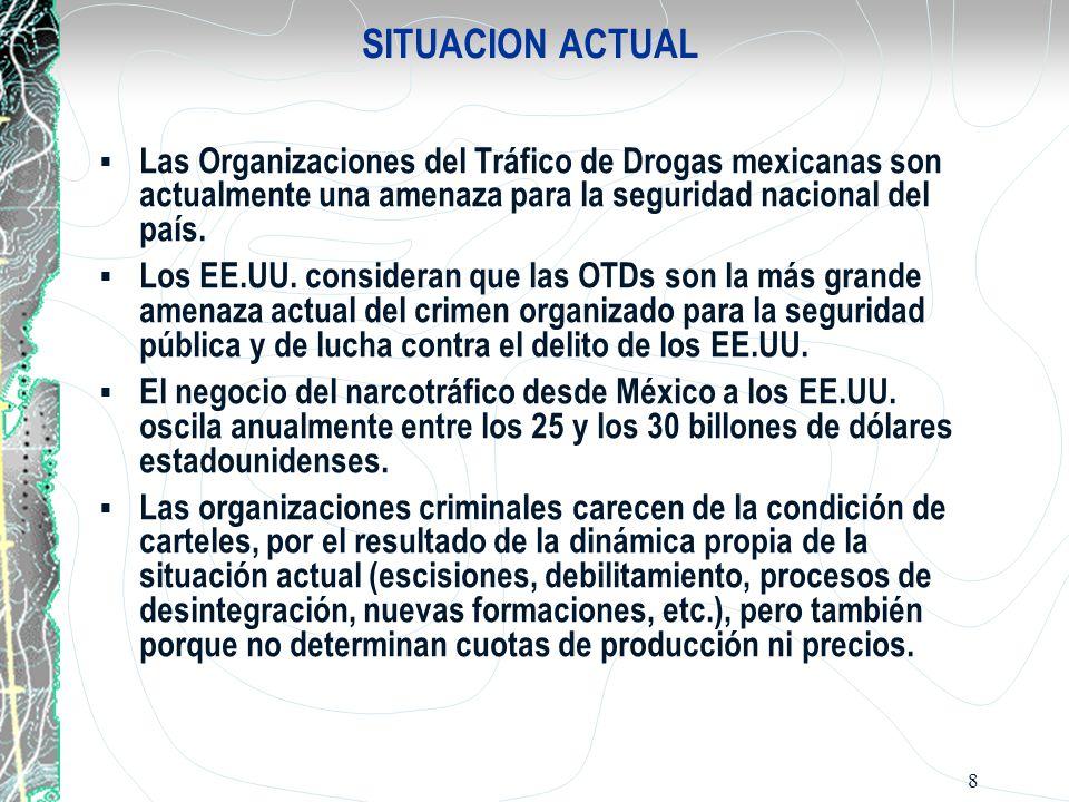 SITUACION ACTUAL Las Organizaciones del Tráfico de Drogas mexicanas son actualmente una amenaza para la seguridad nacional del país.