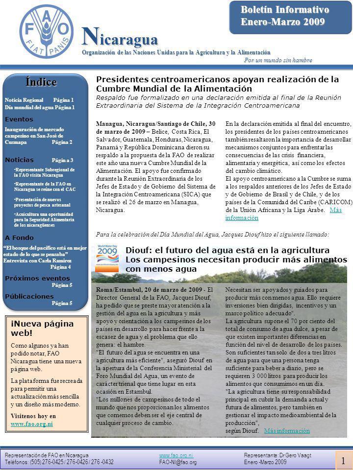 Nicaragua Índice Boletín Informativo Enero-Marzo 2009 1