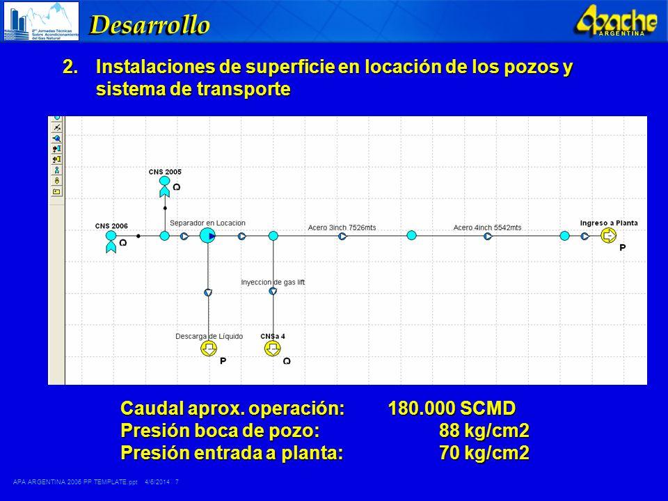 Desarrollo Instalaciones de superficie en locación de los pozos y sistema de transporte. Caudal aprox. operación: 180.000 SCMD.