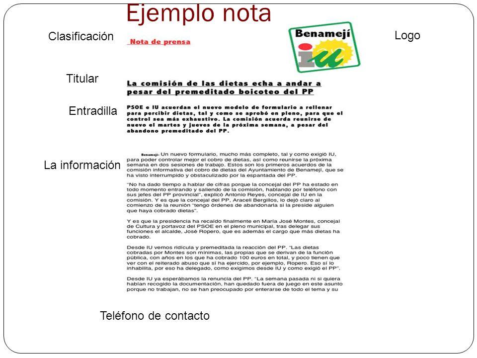 Ejemplo nota Clasificación Logo Titular Entradilla La información