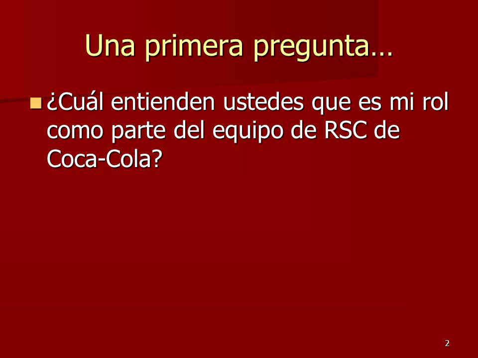 Una primera pregunta… ¿Cuál entienden ustedes que es mi rol como parte del equipo de RSC de Coca-Cola