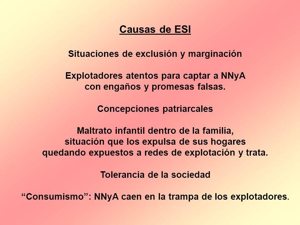 Causas de ESI Situaciones de exclusión y marginación