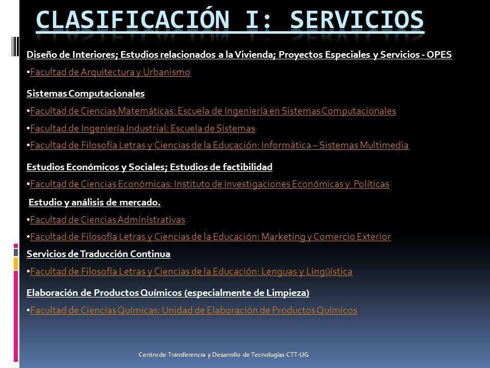 CLASIFICACIÓN I: SERVICIOS