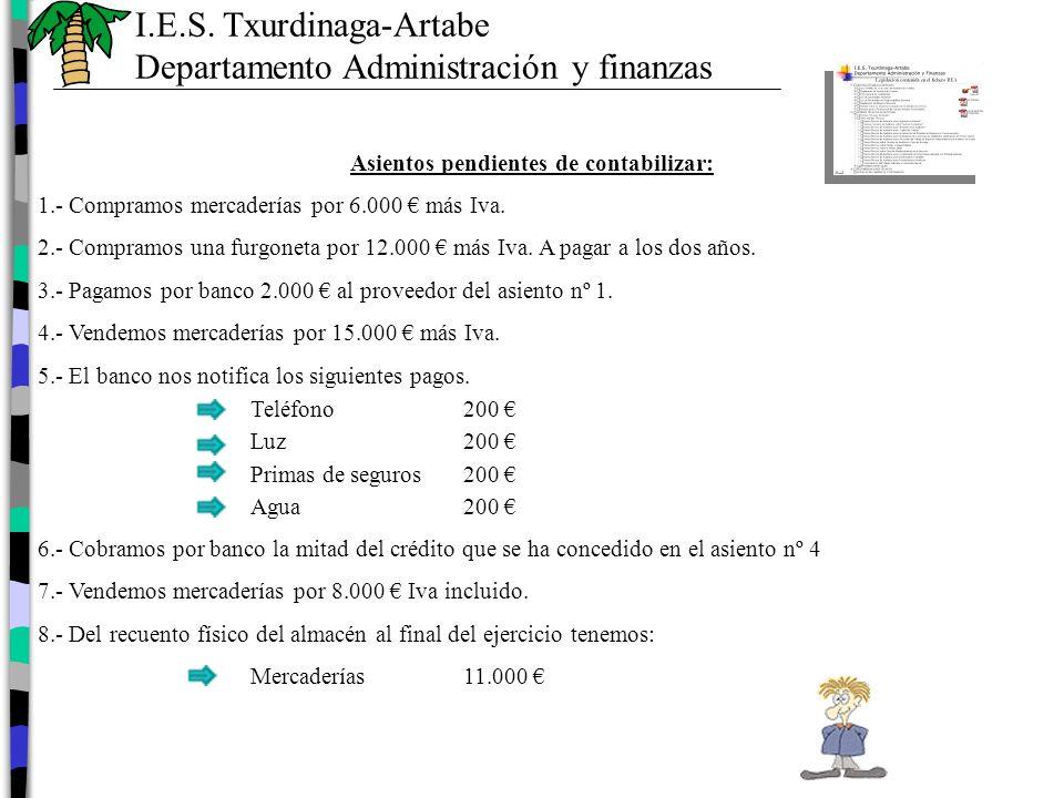 Asientos pendientes de contabilizar: