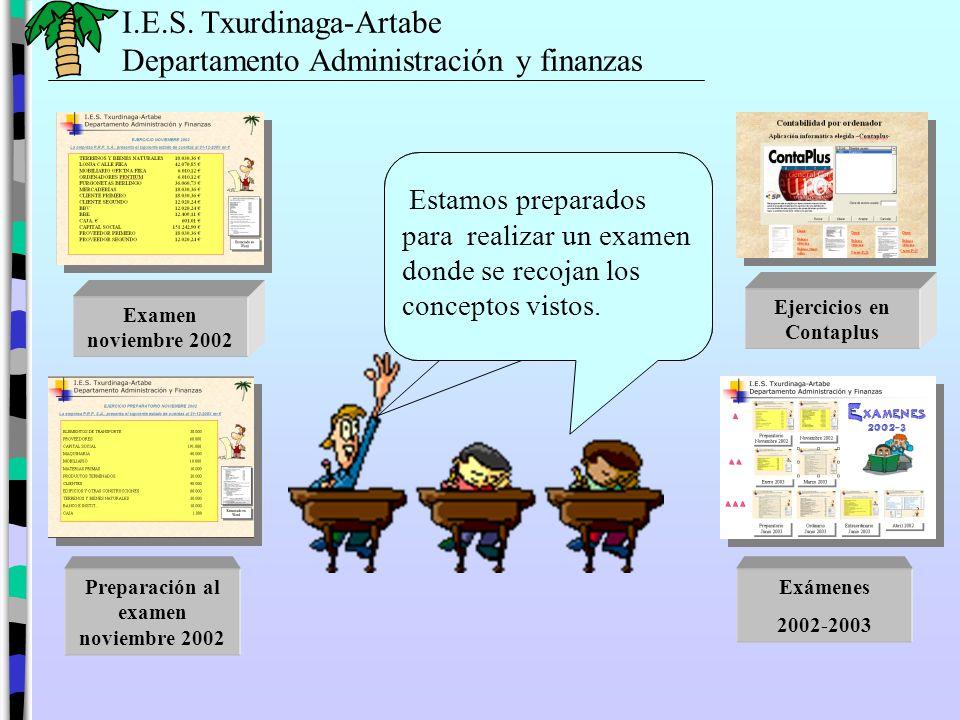 Ejercicios en Contaplus Preparación al examen noviembre 2002