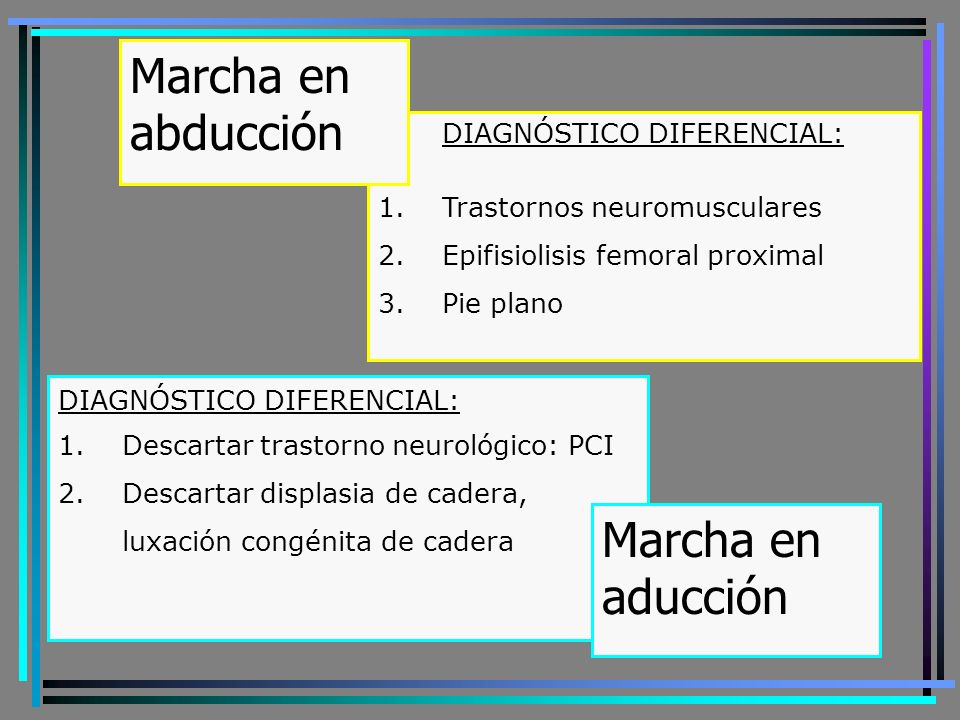 Marcha en abducción Marcha en aducción DIAGNÓSTICO DIFERENCIAL: