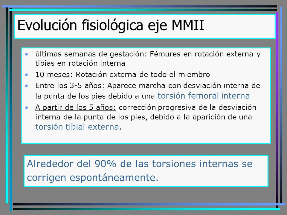 Evolución fisiológica eje MMII